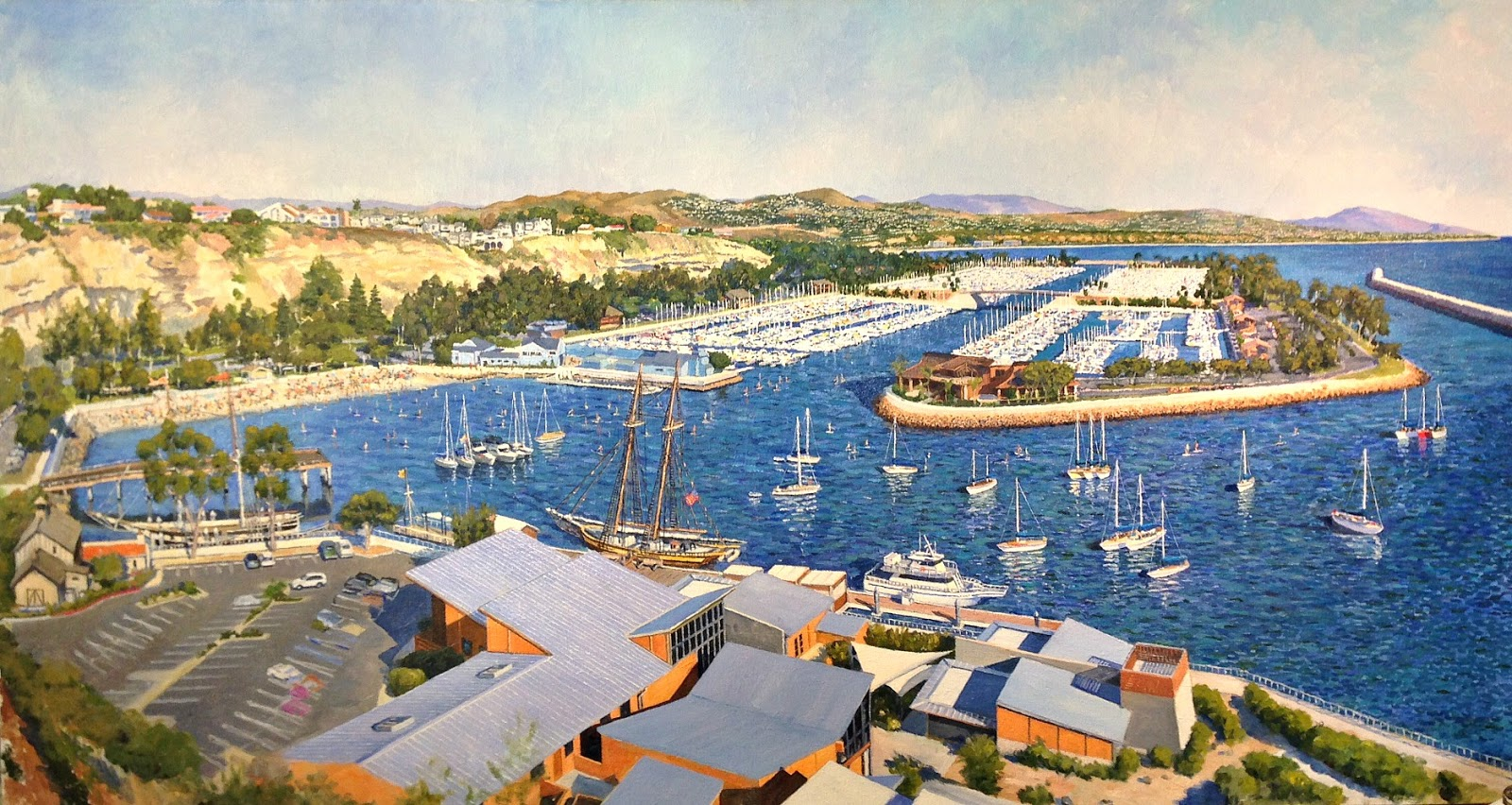 Paul Gavin's painting of Dana Point Harbor from above OCMarine Institute done 25 years after his first piece from the same location