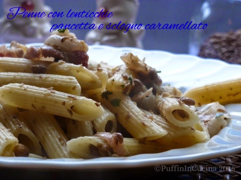 pasta con lenticchie, pancetta e scalogno caramellato la prima ricetta del nuovo anno ^_^