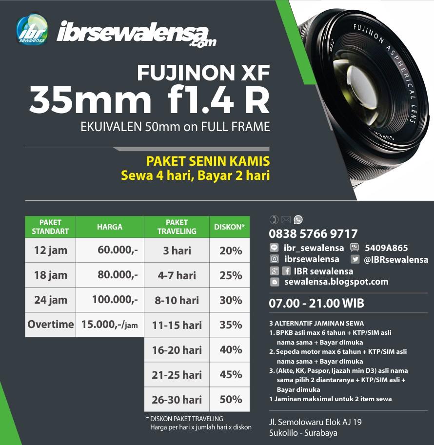 SEWA LENSA, RENTAL LENSA  FUJI 35mm f1.4 R