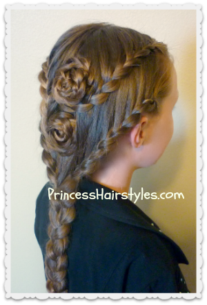 An Elegant Braided Updo Featuring Braided Roses