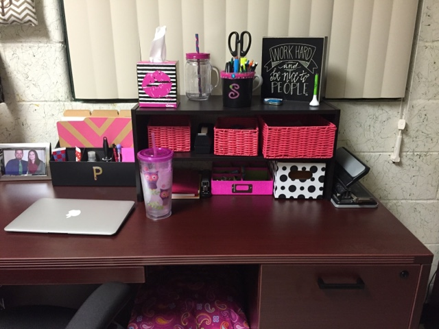 Beautiful Moving across my desk you see a desk organizer from Target I added a monogram P sticker to make it more my own In front of that is my work MacBook Air