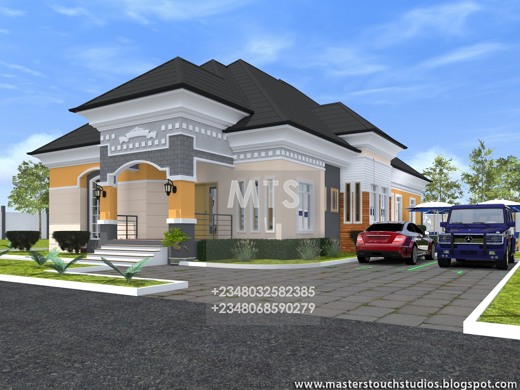Residential homes and public designs Four bedroom bungalow plan