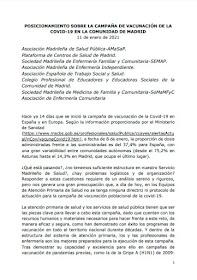 Posicionamiento sobre la campaña de vacunación de la COVID-19 en la Comunidad de Madrid