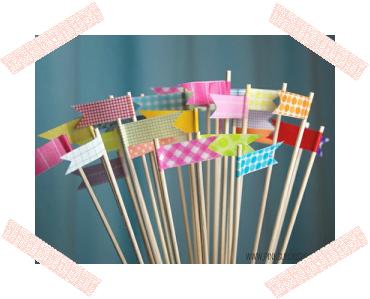 WASHI TAPE DIY TUTORIAL TOPPER FLAG /TUTORIAL PARA HACER BANDERINES CON WASHI TAPE