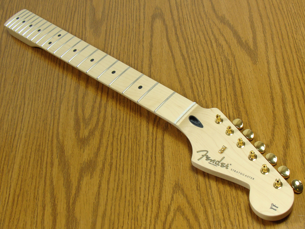 lowest price fender genuine bodies and necks stratocaster description official deluxe player s fender stratocaster neck w gold tuners deluxe player s fender stratocaster maple modern c shape 12 radius