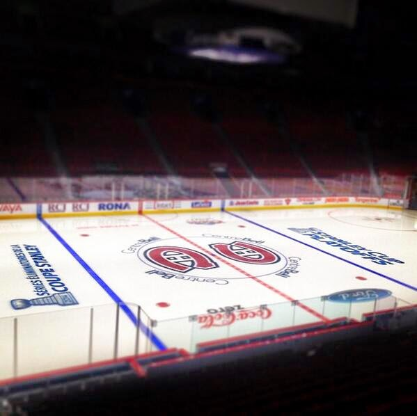 Habs logo at centre ice at the Bell Centre