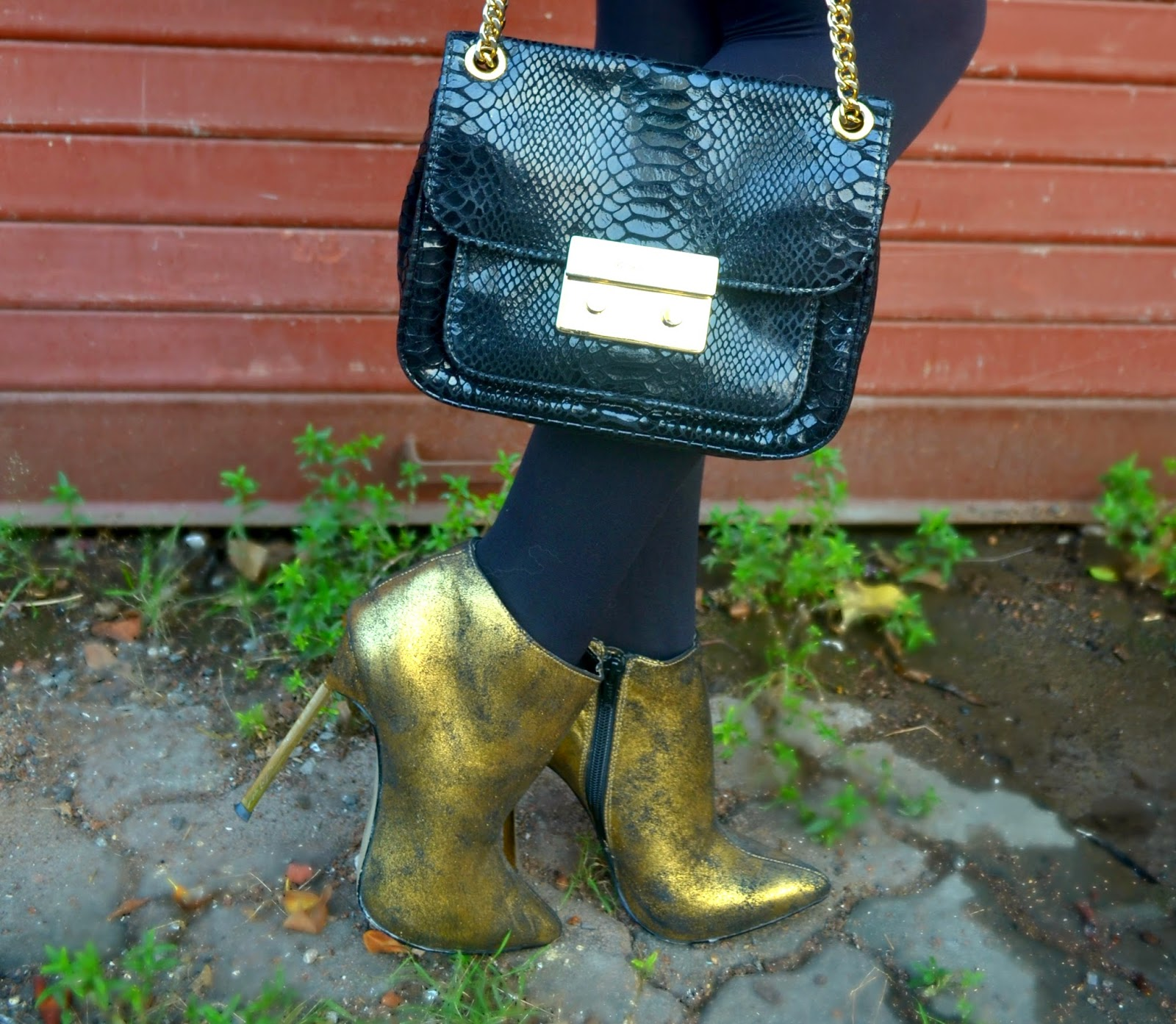 River Island gold ankle boots