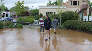 Devan Matthews, Shelby Matthews, Jana Matthews walking the Trinity Garden labyrinth