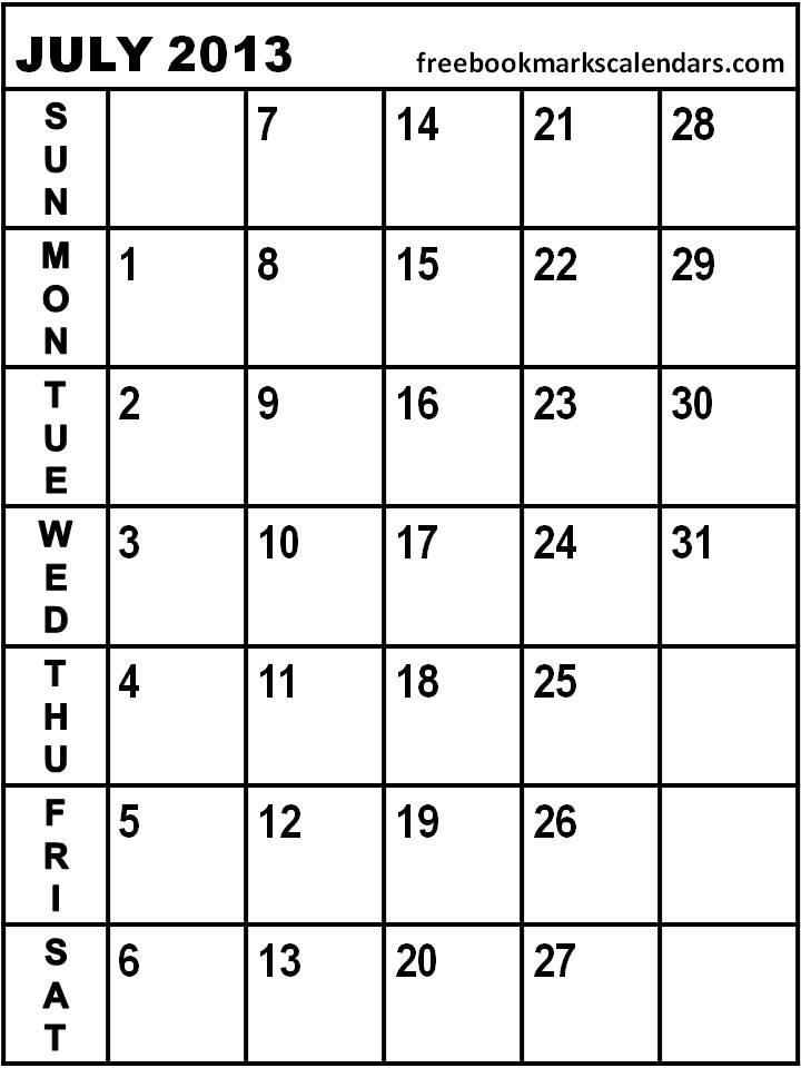 720 x 960 jpeg 64kB, July 2013 Blank Printable Calendar/page/2   New ...