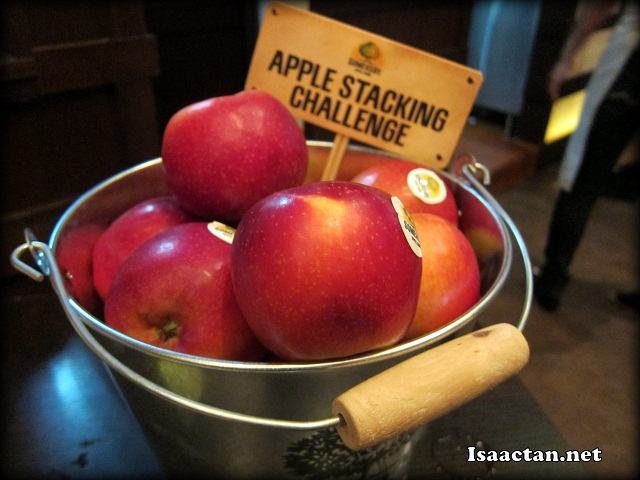 Some of the games to win prizes, the apple stacking challenge