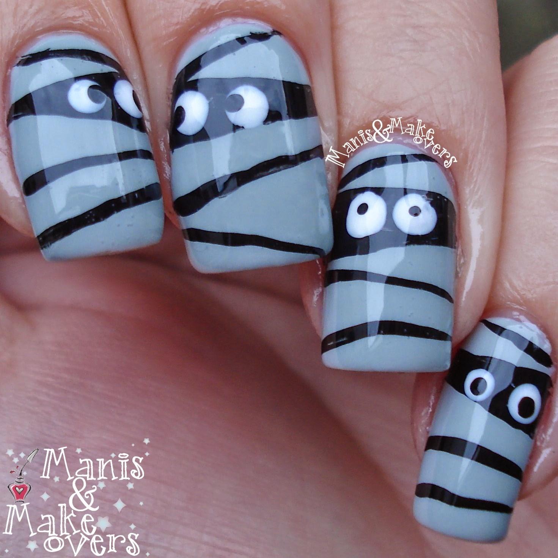 Manis & Makeovers: Funny little mummies - simple Halloween design