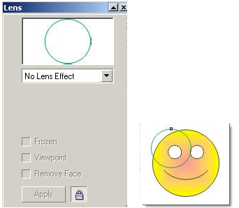 Lựa chọn hiệu ứng cho đối tượng khi dùng lệnh Lens