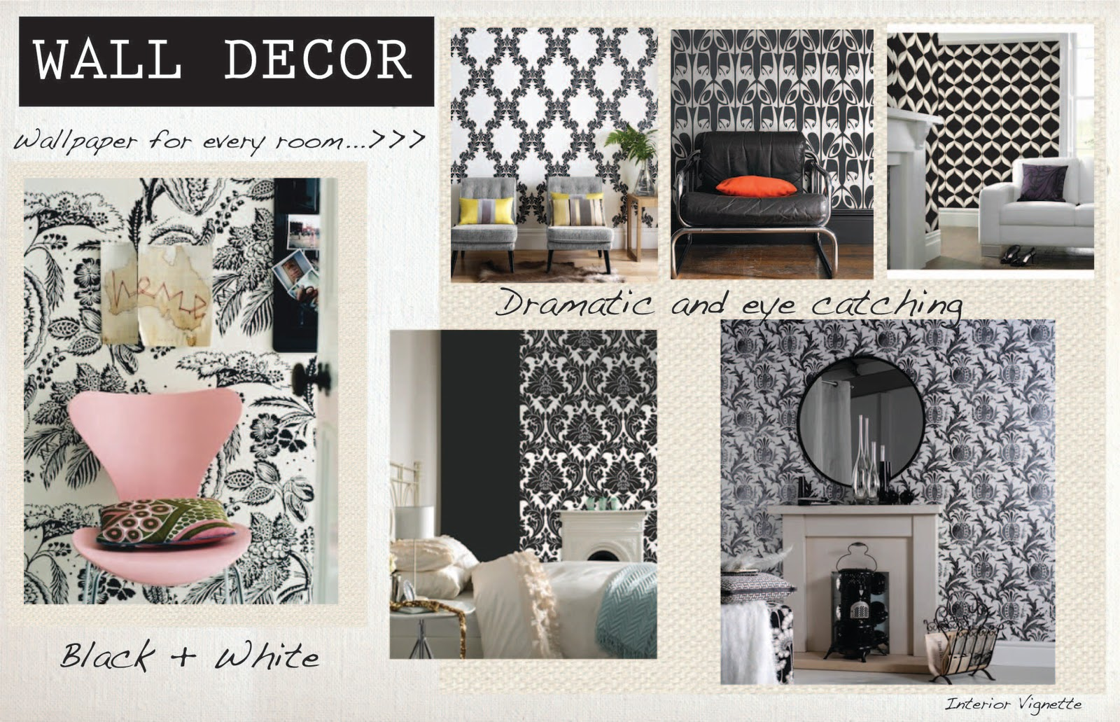 WALL DECOR BLACK WHITE WALLPAPER
