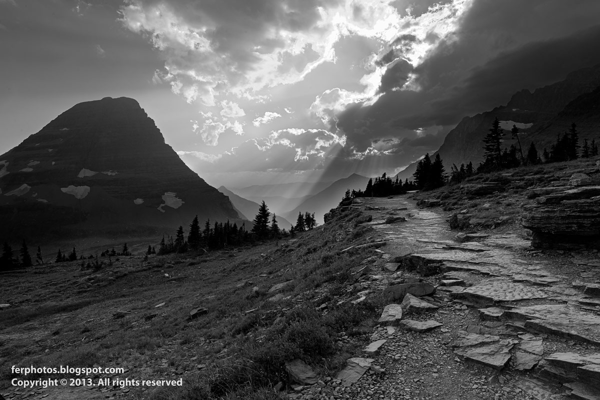 Black and White Glacier National Park hiking sunset US Montana Canada Rocky Mountains
