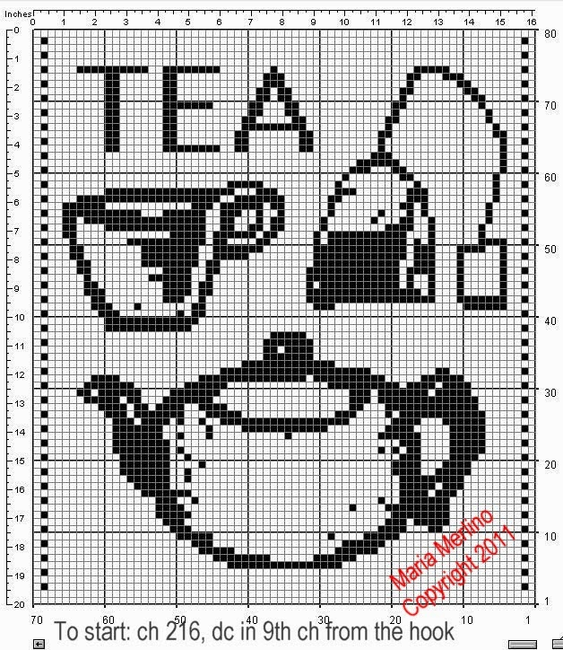 Filet Crochet Filet Crochet A Tea Pot Curtain Free Pattern