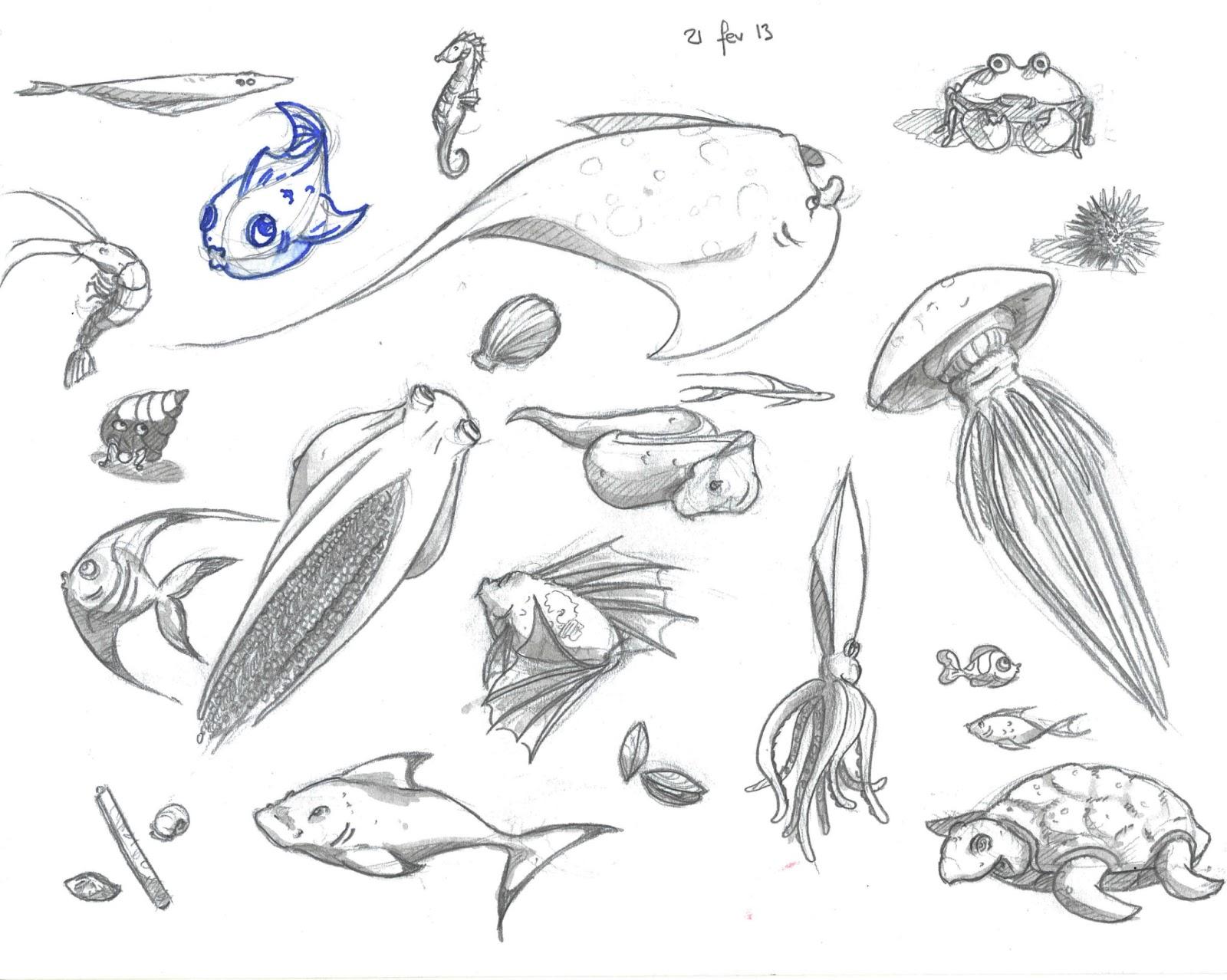 Les gribouilles de lul f vrier 2013 - Dessin d animaux marins ...