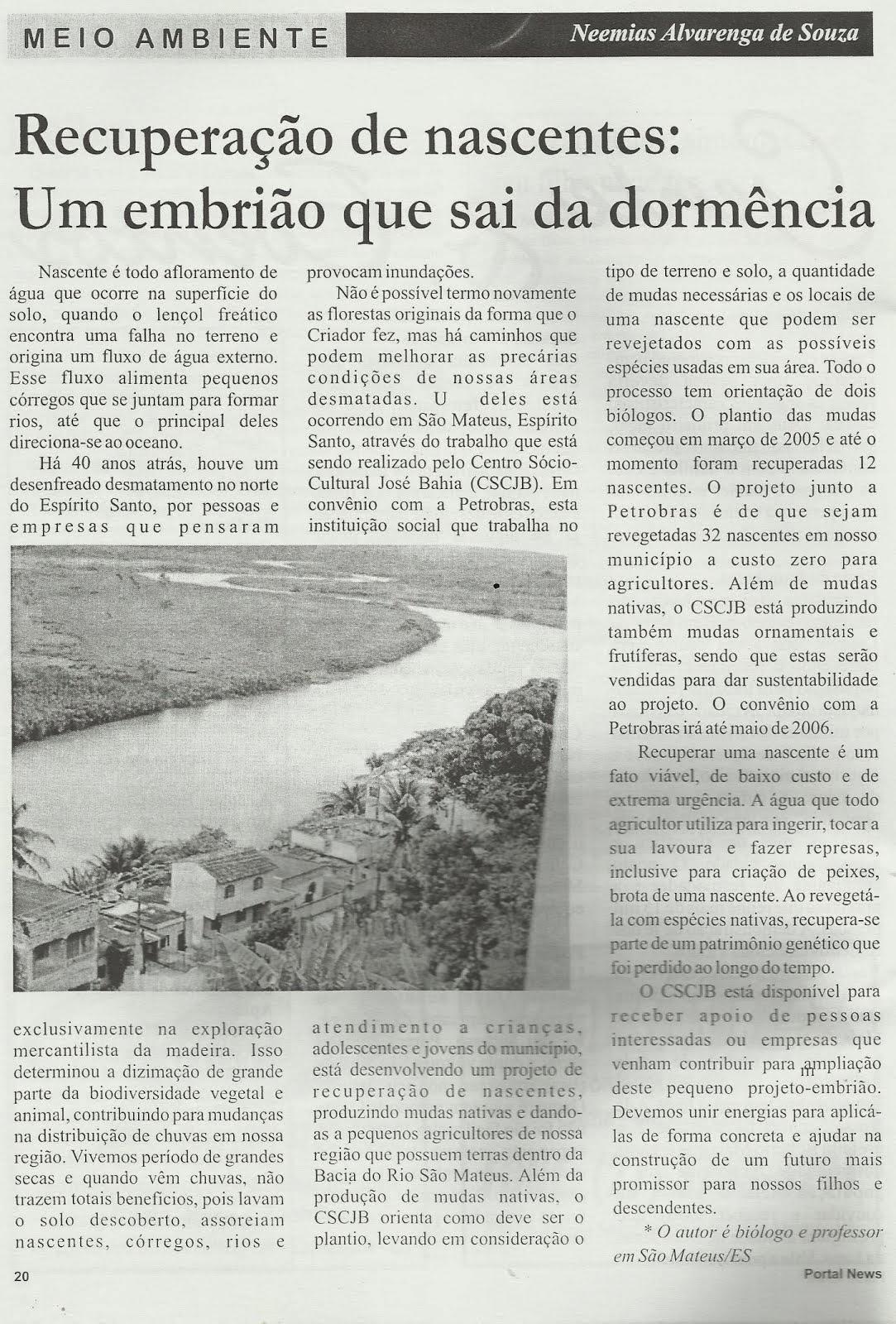 RECUPERAÇÃO DE NASCENTES EM SÃO MATEUS, ES.