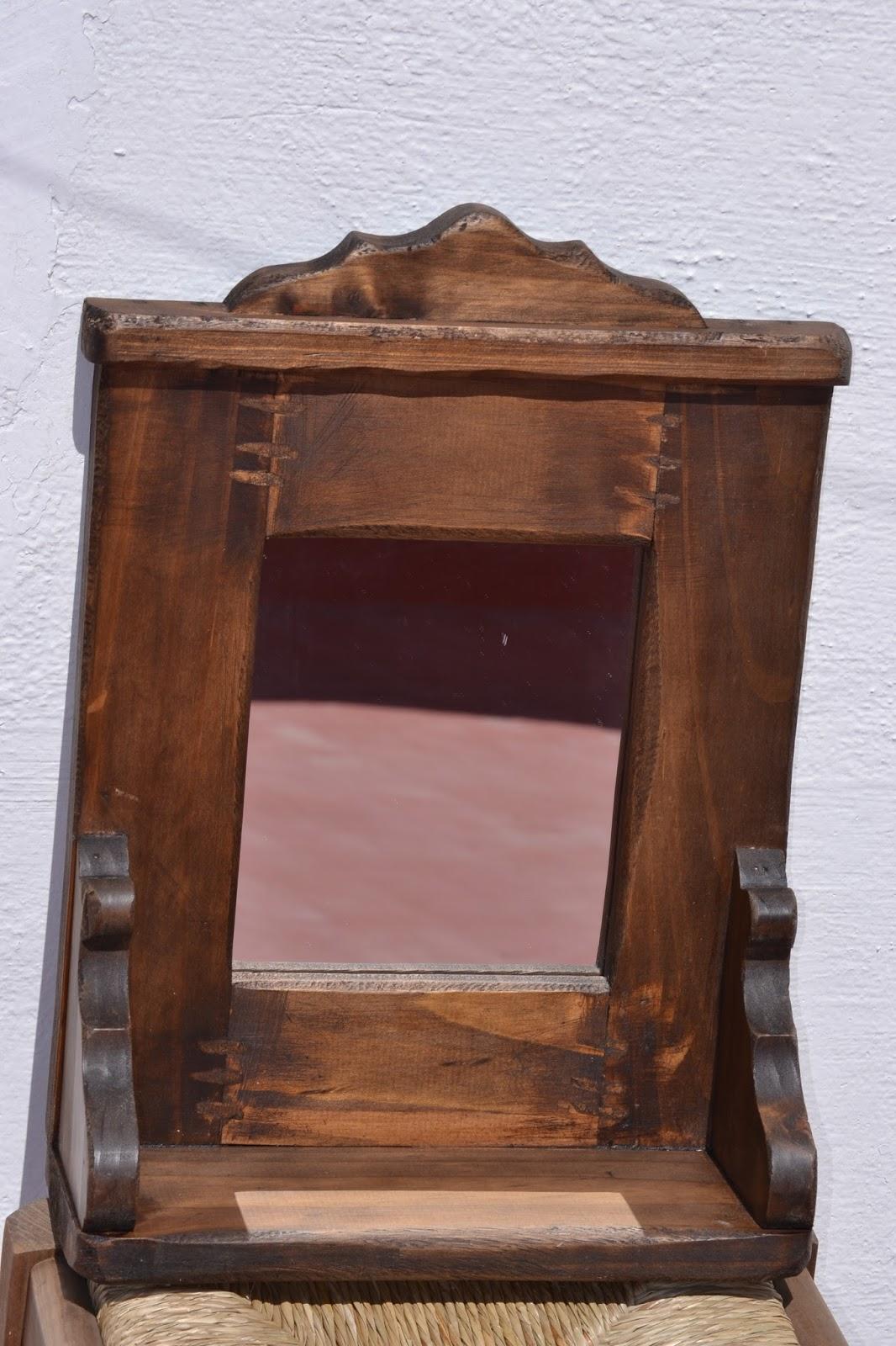 Artesan a r stica en madera marco con espejo for Espejos de bano rusticos de madera
