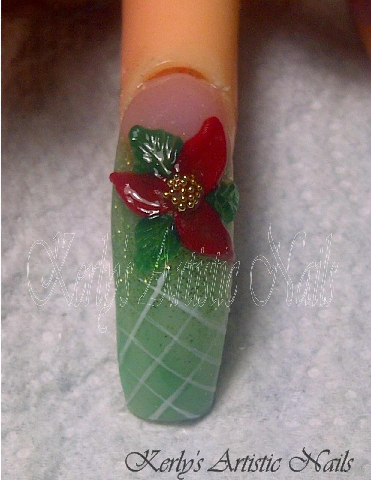 Poinsettia nail art design short nails : Artistic nails christmas nail art designs kerly s