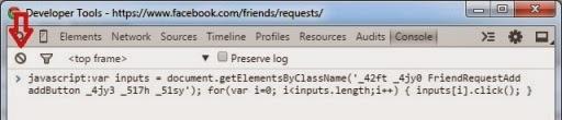 menambahkan teman facebook dengan javascript chrome