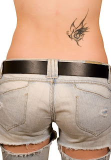Black Ink Lower Back Tattoo Design