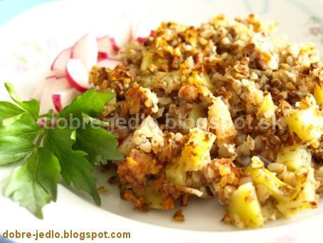 Zapekaná pohánka so zemiakmi a údeným mäsom - recepty