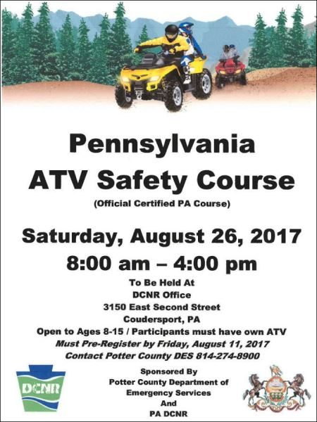 8-11 Register For PA ATV Safety Course