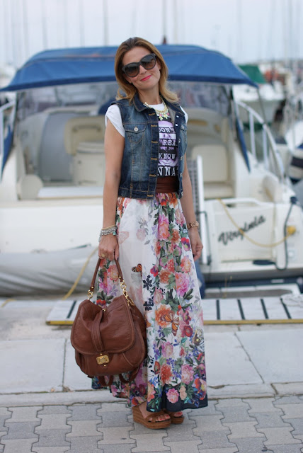 Bershka vest, floral maxi skirt, wedges, boho look, Fashion and Cookies