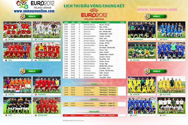 Lch Pht Sng EURO 2012 Trn VTV3 VTV2 Online