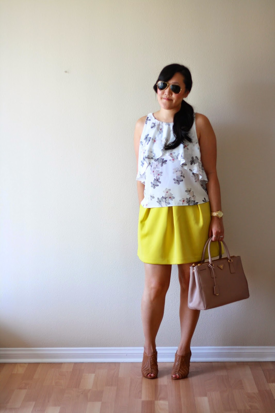 simplyxclassic, zara, rayban, asos skirt, yellow skirt, floral top, blogger, style blogger, fashion blogger, california blogger, ootd, outfit of the day