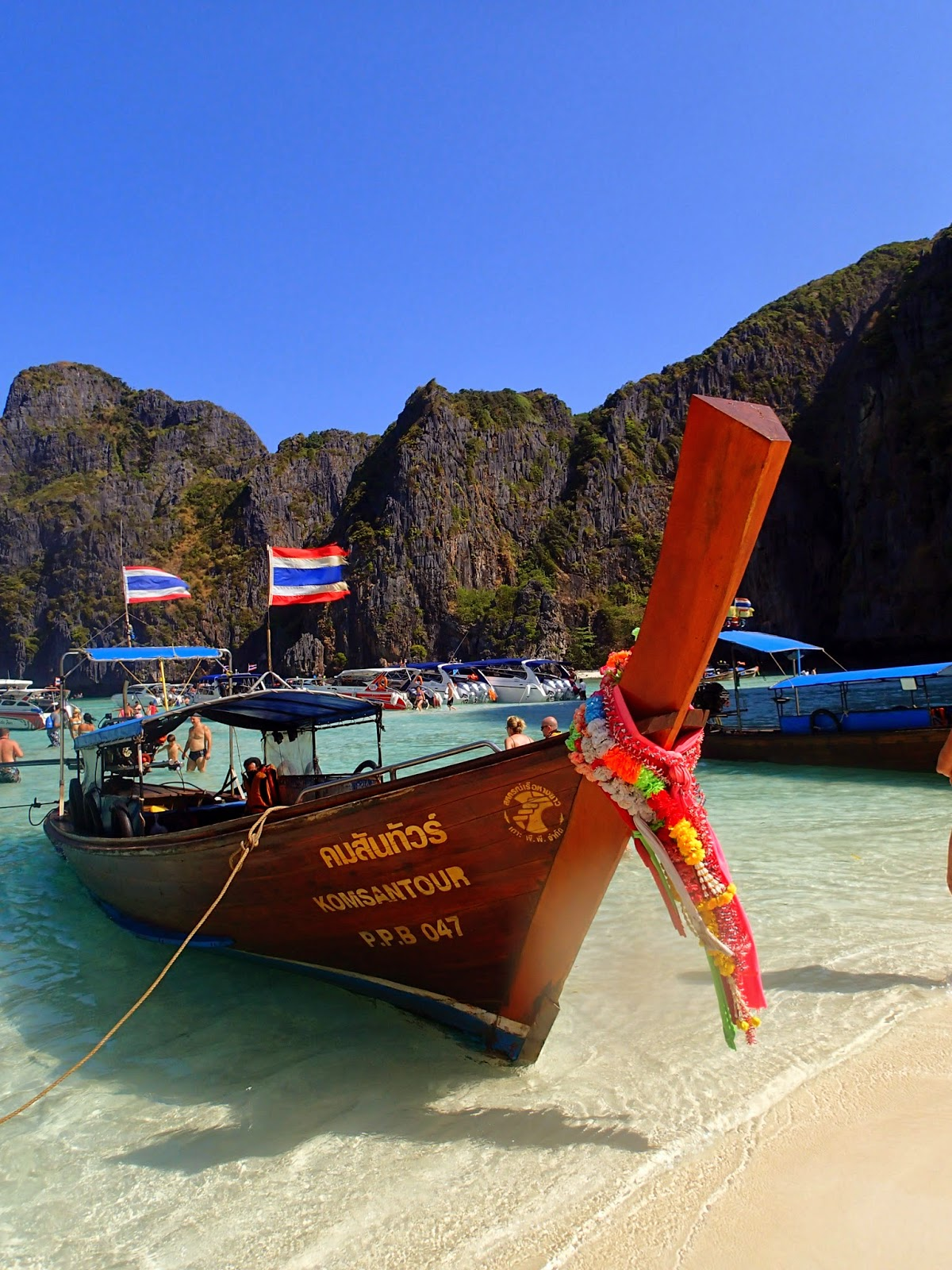Thai long-tail boat at Maya Beach Phi Phi Islands