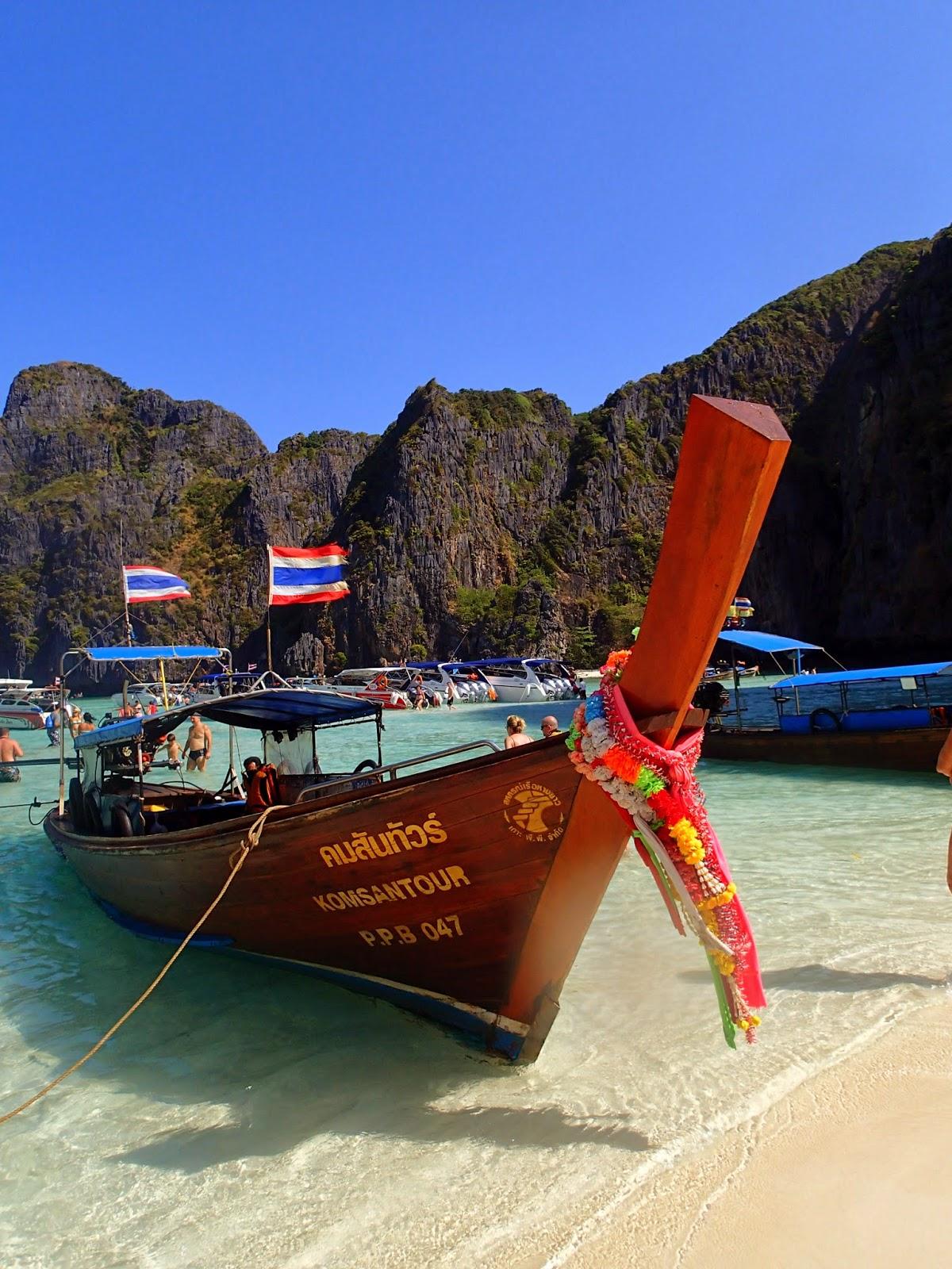 Thai long-tail boat at Maya Beach Phi Phi Islands