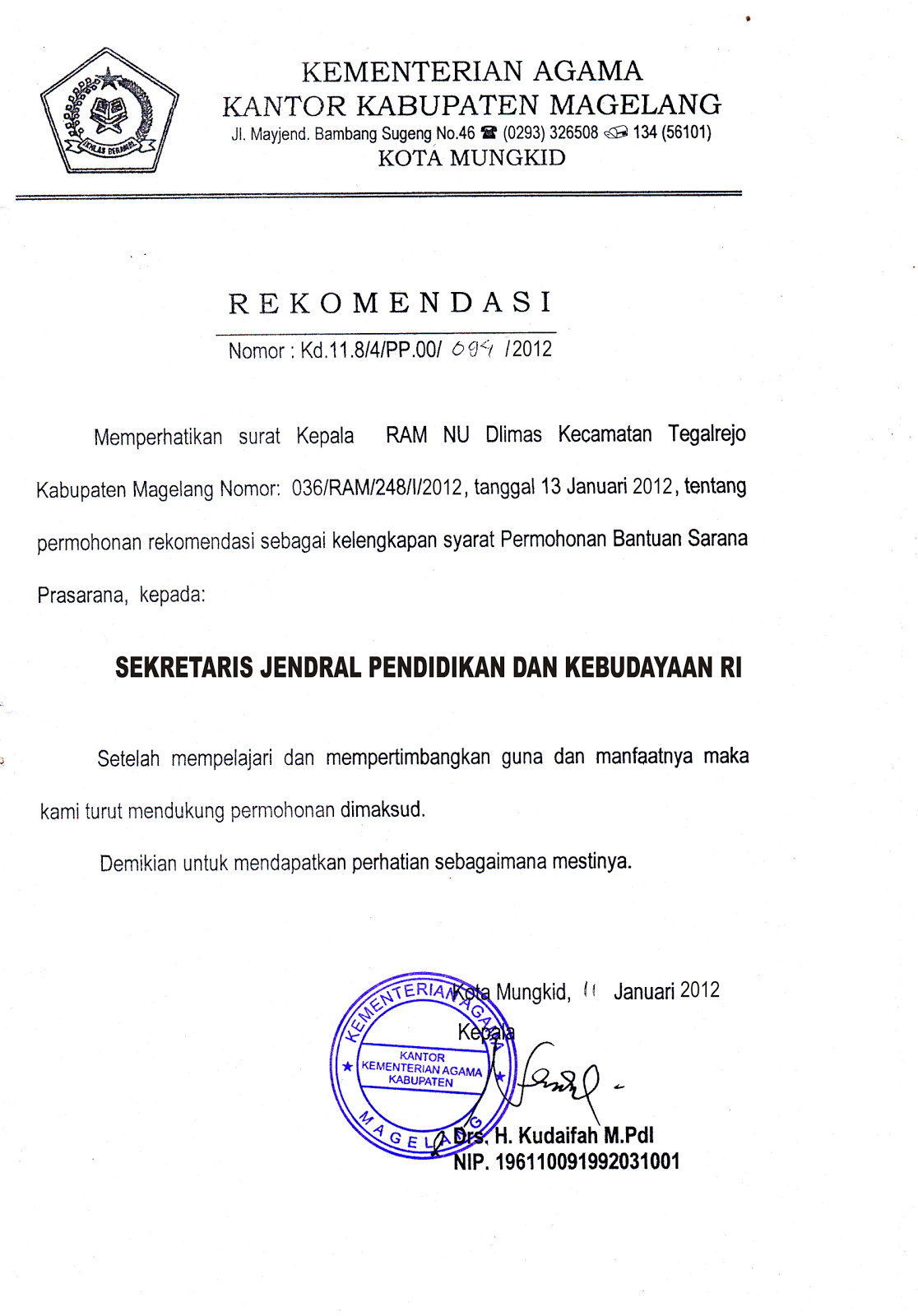 Contoh Surat Rekomendasi Kepada Sekjen Pendidikan Uchavision