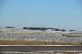photo of rural Minnesota farm with wind turbines