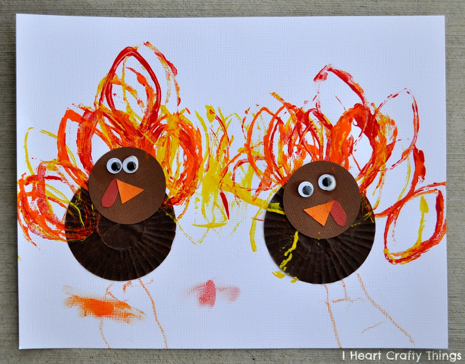Cupcake liner turkey craft i heart crafty things for Thanksgiving craft ideas for kindergarten