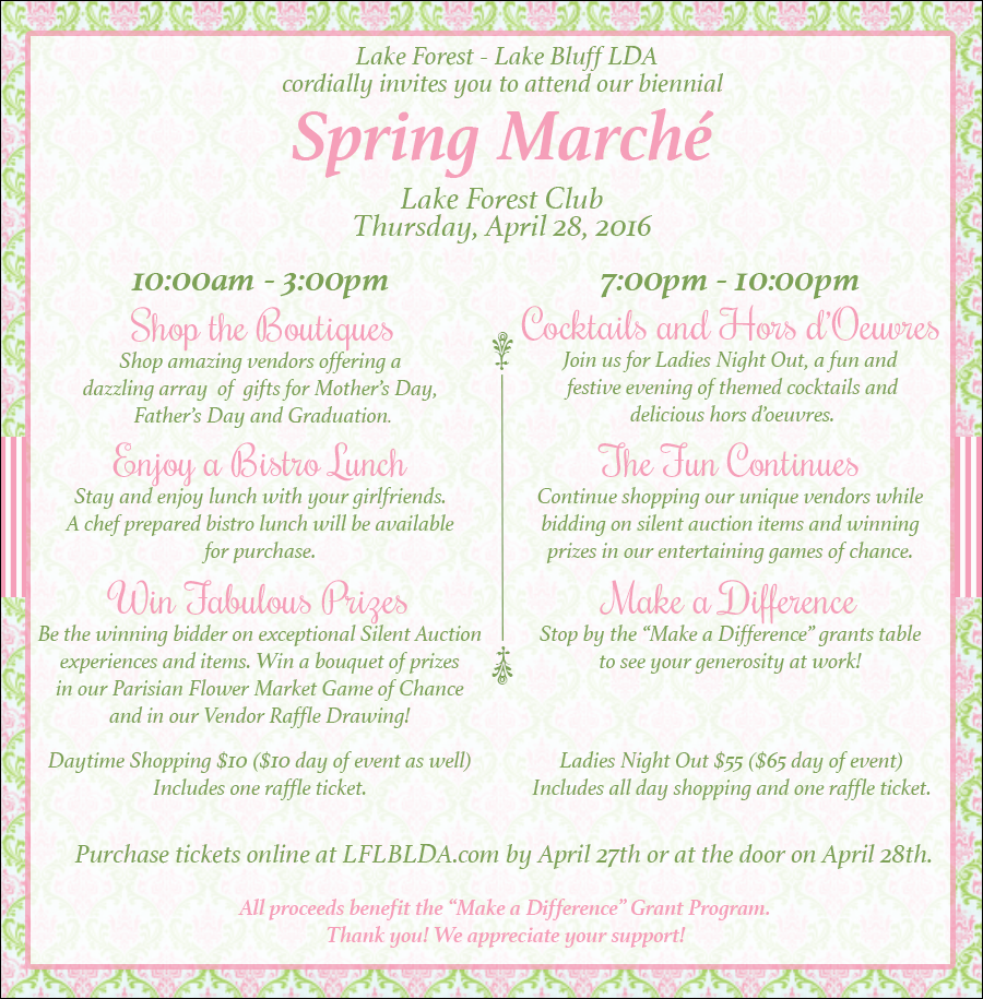 Join us for the Lake Forest Club Spring Marche