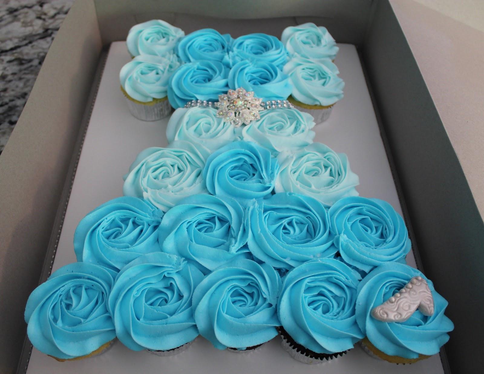 Cinderella Dress Cupcake Cake on Princess Elsa Birthday Cake