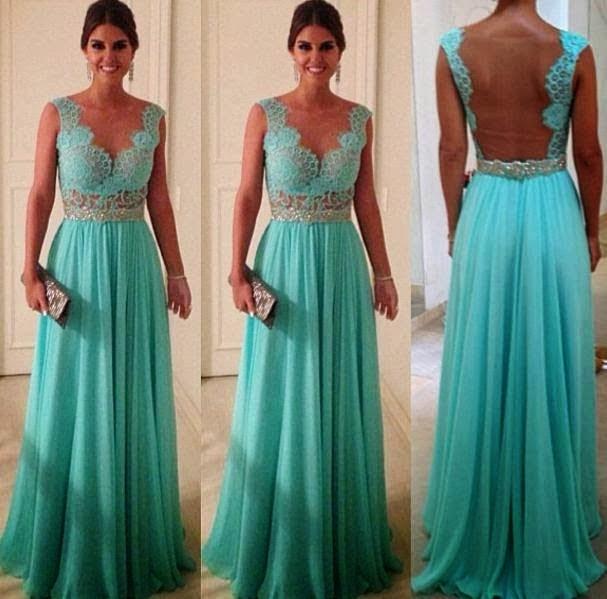 vestido longo azul com transparência e bordados - dicas e fotos