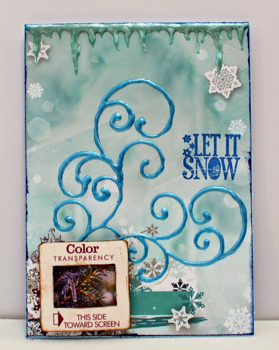 Let It Snow card by Ilene Tell using BoBunny Altitude and Pearlescents