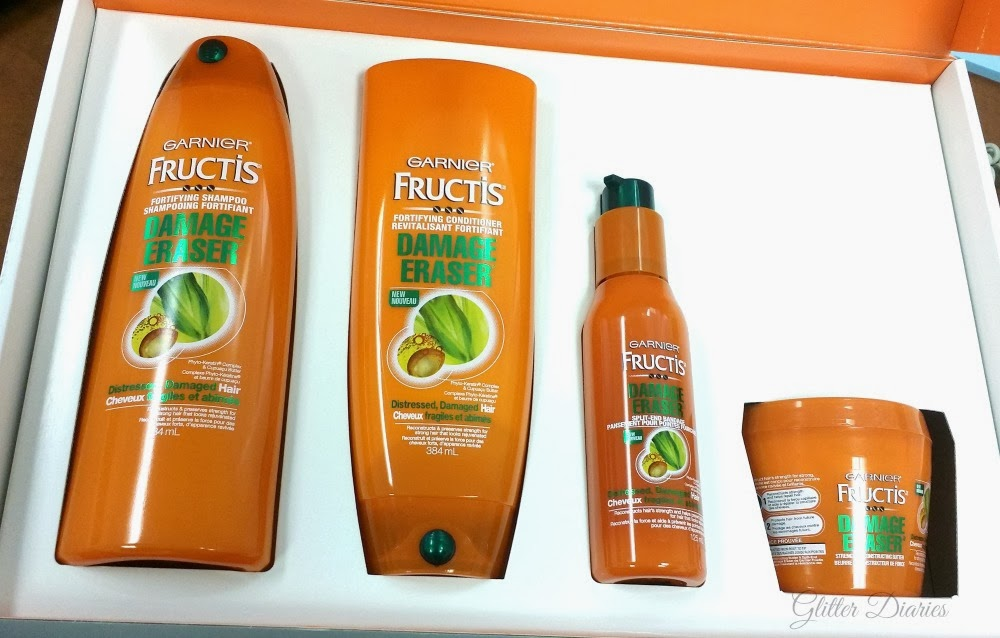 garnier fructis, damage eraser, hair care review, drugstore hair products, affordable hair products, hair product review, damaged hair care, canadian blogger, beauty blogger, influenster, voxbox, glitter diaries, how to fix damaged hair, garnier