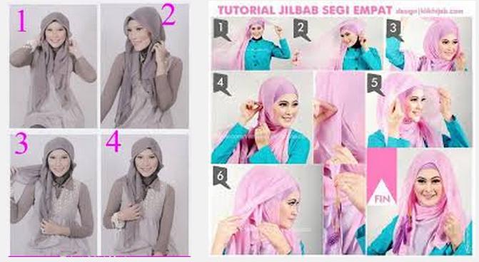 Tutorial memakai jilbab segi empat simple dan modis terbaru
