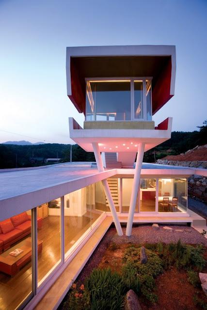 Architektur eines offenen Hauses in Südkorea