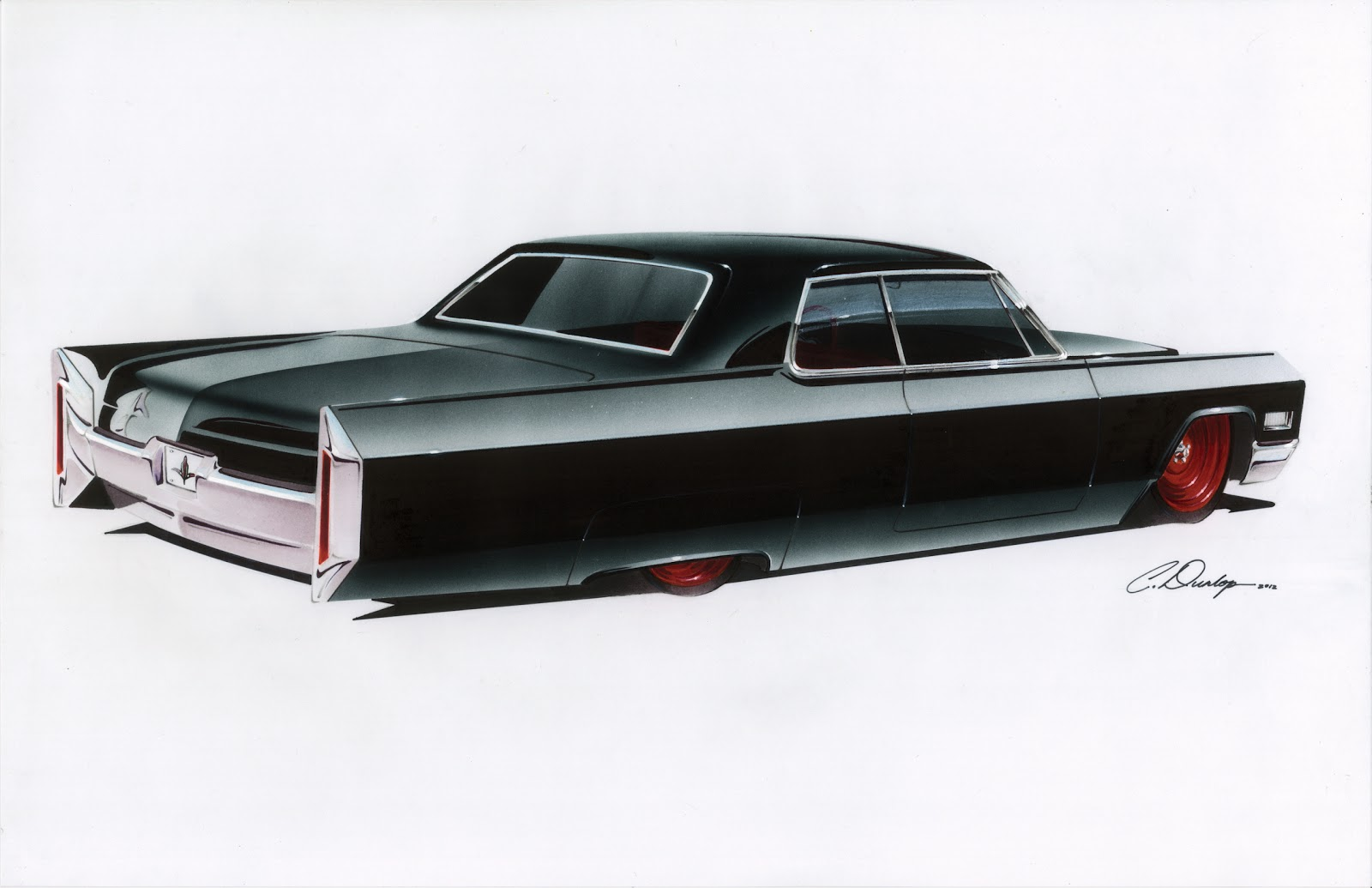 Pinstripe Chris Custom 65 Cadillac Coupe De Ville Rendering