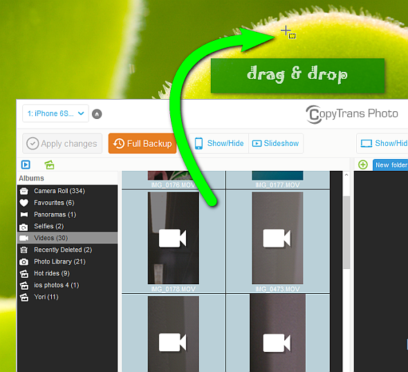 drag and drop iphone videos to windows desktop