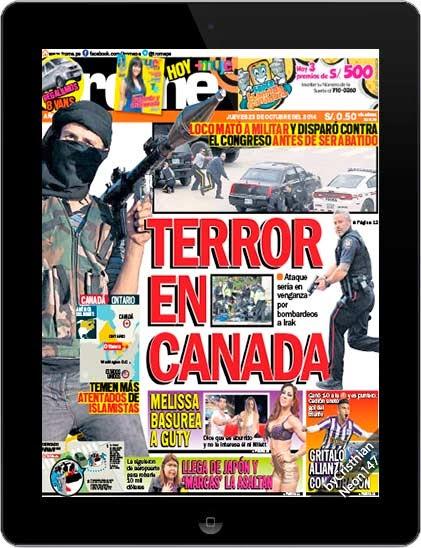 Diario Trome Perú (23 Octubre 2014) ESPAÑOL - Terror en Canadá, loco mató a militar y disparó contra el Congreso antes de ser abatido