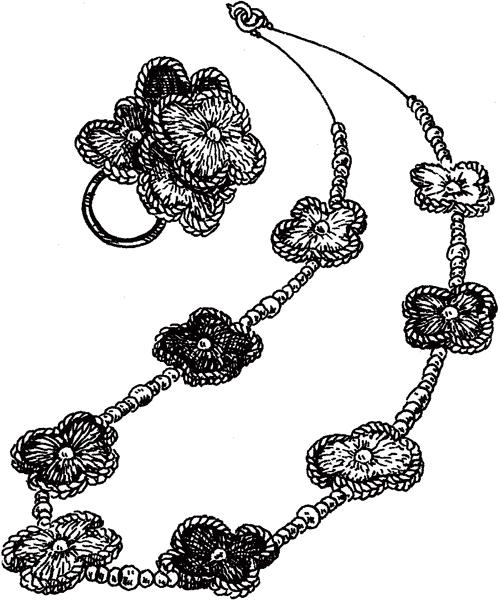 Комплект цветочный, связанный крючком: колье и колечко