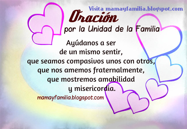 oracion corta union familia armonia amor en hijos padres