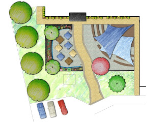 color rendering of my conceptual design for a new ARC Fine Arts amphitheater patio