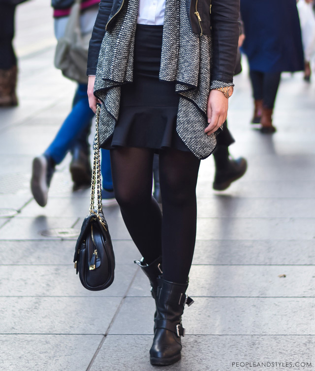 Elegant, stylish daily street style outfit idea, weekend look: flared mini skirt, biker jacket, layered cardigan and ankle boots, Andrea Racetin