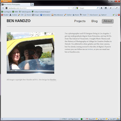 Screen shot of http://benhandzo.com/about.html.
